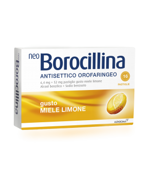 NEOBOROCILLINA ANTISETTICO OROFARINGEO*16 pastiglie 6,4 mg + 52 mg limone